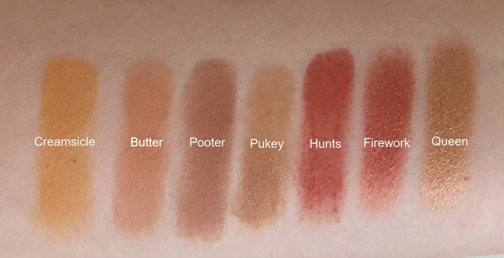 Jaclyn x Morphe row 2 swatches