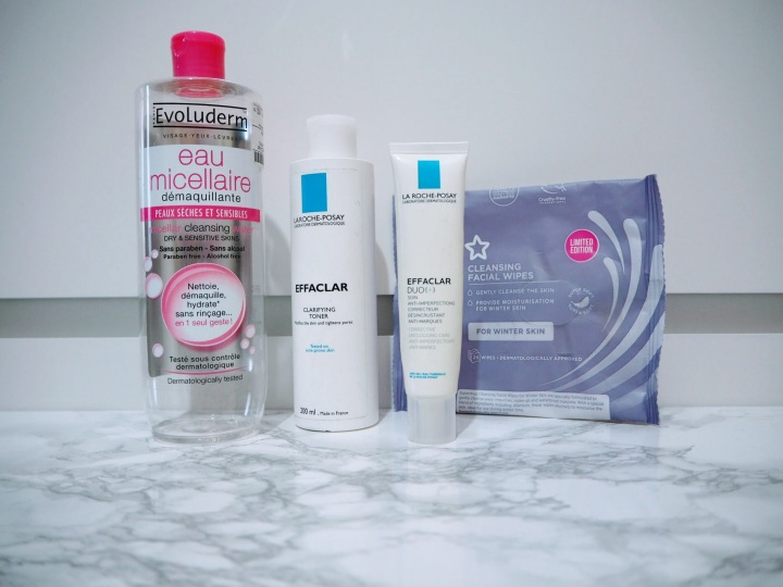 Evoluderm Eau Micellaire La Roche Posay Effaclar Toner Duo+ Cleansing Facial Wipes for Winter Skin