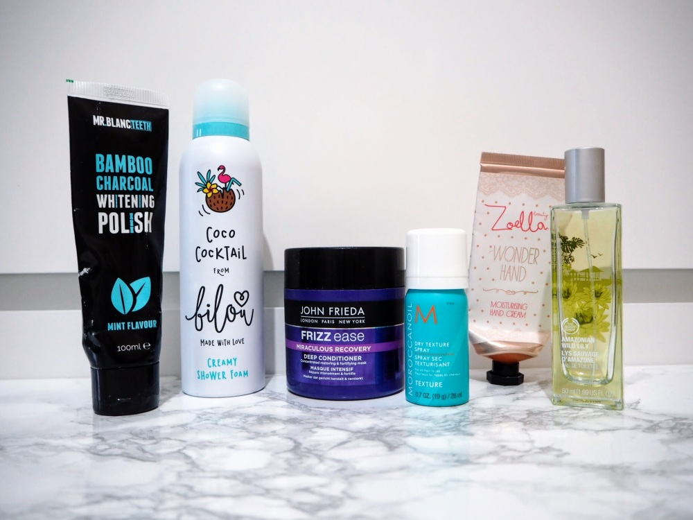 Mr Blanc Charcoal Tooth Polish Bilou Coco Cocktail John Frieda Miraculous Recovery Mask Moroccan Oil Dry Texture Spray Zoella Wonder Hand The Body Shop Amazonian Wild Lily