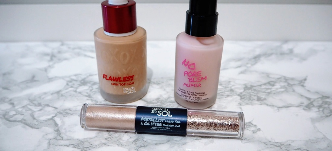 touch in SOL Flawless Skin Top Coat Natural No Poreblem Primer Metallist Liquid Foil and Glitter Shadow Duo
