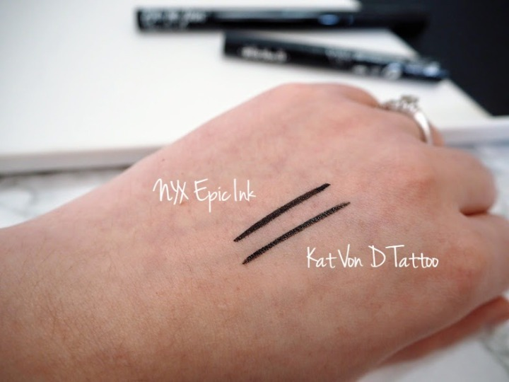 NYX Epic Ink vs Kat Von D Tattoo Liner swatches