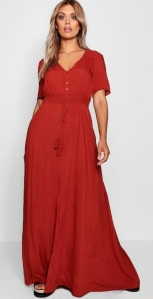 Boohoo Plus Ruched Waist Maxi Dress